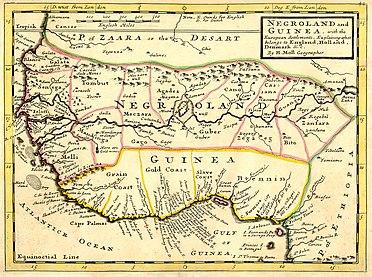 Een kaart uit 1736, waarop Negerland en Guinea staan aangegeven. Het huidige Guinea is anders