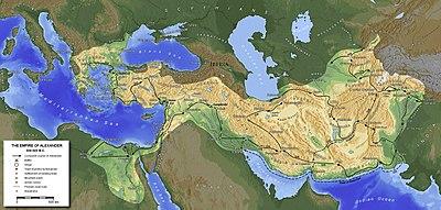 Kaart van het rijk van Alexander de Grote