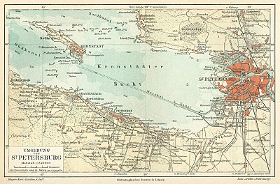 1888 kaart van St. Petersburg en Kronstadt, een versterkte eilandstad