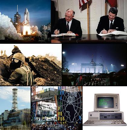 Van links, met de klok mee: De eerste Space Shuttle, Columbia, stijgt op in 1981; de Amerikaanse president Ronald Reagan en Sovjetleider Mikhail Gorbatsjov worden minder agressief naar elkaar toe, wat leidt tot het einde van de Koude Oorlog; De val van de Berlijnse Muur in 1989; In 1981 wordt de IBM Personal Computer uitgebracht; In 1985 wordt het Live Aid concert gehouden om de hongersnood in Ethiopië te helpen stoppen in de tijd dat Mengistu Haile Mariam het land regeerde; Oekraïne en een groot deel van de wereld is gevuld met radioactief puin van de Tsjernobyl-ramp van 1986; De Iran-Irak oorlog doodt meer dan een miljoen mensen.