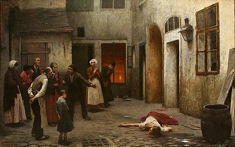 Mord im Haus ist ein Gemälde von Jakub Schikaneder aus dem Jahr 1890.
