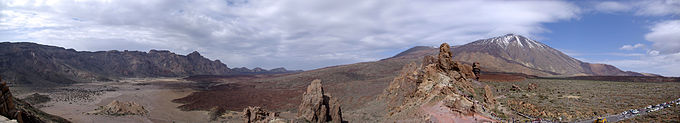 panoramisch uitzicht op Las Cañadas del Teide