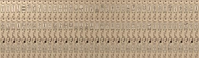 Tekening van de cartouches in de Koningslijst van Abydos.
