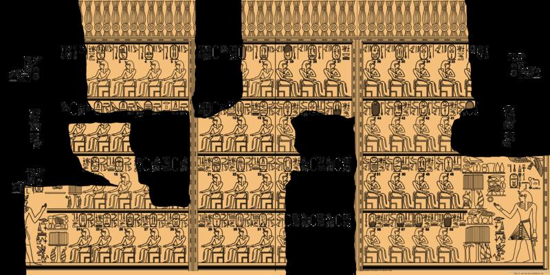 Tekening van de Koningslijst van Karnak. De gekleurde stukken blijven, de witte zijn min of meer verloren gegaan.