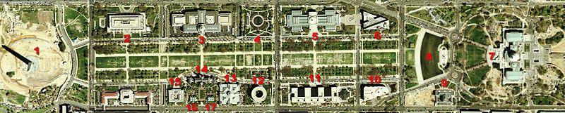 Deze USGS foto van de National Mall werd genomen door een satelliet op 26 april 2002. Het Capitool rechts werd om veiligheidsredenen voor publicatie gepixeld.
