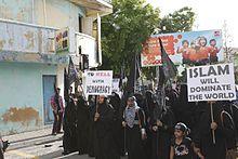 Een openbare demonstratie die oproept tot de sharia op de Malediven, september 2014