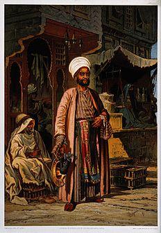 Een tevreden klant staat bij een drogisterij in een straat in Caïro (1850), een chromolithografie van A. Preziosi.