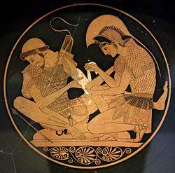 Achilles (rechts) bindt de wonden van Patroklos