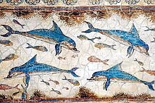 Fresko von Delfinen, ca. 1600 v. Chr., aus Knossos, Kreta.
