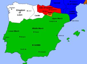 Het Kalifaat van Cordova ca. 1000 op zijn hoogtepunt, onder Al-Mansur