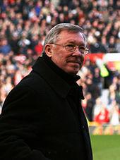 Sir Alex Ferguson op Manchester United's thuisbasis Old Trafford