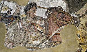 Aleksander w mozaice Aleksandra z Domu Fauna w Pompejach w 347 r. p.n.e.