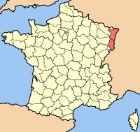 Alsace er markeret med rødt