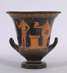 Offensichtlich sowohl eine künstlerische als auch eine praktische Arbeit: Griechische rotfigurige Vase in Kraterform, zwischen 470 und 460 v. Chr., von dem Altamura-Maler