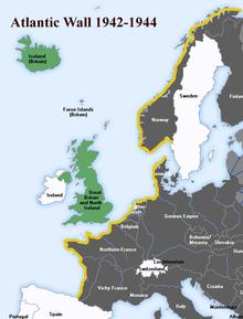 Een kaart van de Atlantikwall