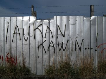 "Mapudungun tekst die betekent ""Uprise Meeting""."