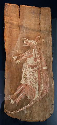 Een bastschildering die een kangoeroe laat zien
