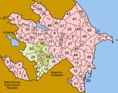Karte der administrativen Gliederungen Aserbaidschans. Beachten Sie, dass die Verwaltungseinheiten Nachitschiwans separat aufgeführt sind.