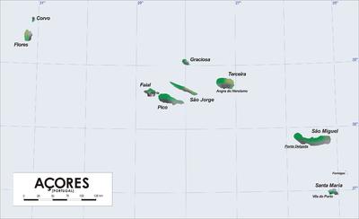 亚速尔群岛地图。