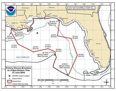 Maximale oppervlakte van de federale wateren gesloten voor de visserij na de olieramp met de Deepwater Horizon, 2010