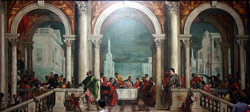 Dit schilderij, Feest in het huis van Levi door Paolo Veronese, is het grootste olieverfschilderij op doek ter wereld. Het is meer dan 42 voet lang. (5,55 × 12,80 meter)