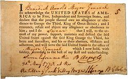 Arnoldova přísaha věrnosti, 30. května 1778