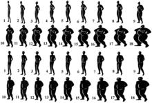 Lichaamsbeelden ter illustratie van Obesitas: Afbeeldingen 1 tot 5 tonen mensen met ondergewicht