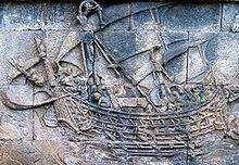 Již v prvním století našeho letopočtu podnikaly indonéské lodě obchodní cesty až do Afriky. Obrázek: loď vytesaná na Borobuduru, kolem roku 800 n. l.