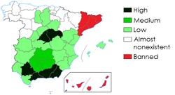 Przewaga walk byków w dzisiejszych hiszpańskich prowincjach.