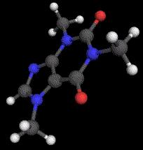 Ein Koffein-Molekül. Koffein ist ein gängiges Medikament