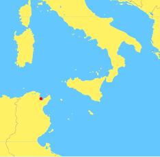 Een kaart van het midden van de Middellandse Zee