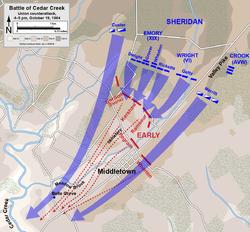 Kaart van de tegenaanval van de Unie bij de Slag om Cedar Creek tijdens de Amerikaanse Burgeroorlog