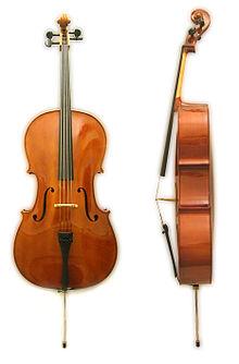 Een cello van voren en opzij