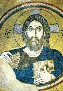 Эта мозаика от 1100, Афины, показывает Иисуса как Судью Земли.