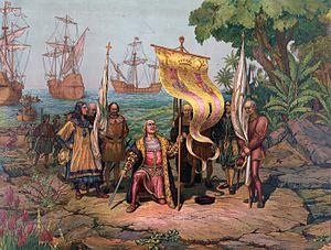 "Christoph Kolumbus kam an der Spitze der Spanier nach Amerika. Er gab dem heutigen ""Amerika"" den Namen ""Kolumbien""."