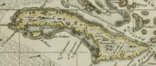 Kaart van Cuba in 1680