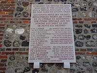 Dieppe Raid 1942, nabijgelegen gedenkplaat voor de gesneuvelde Britse soldaten