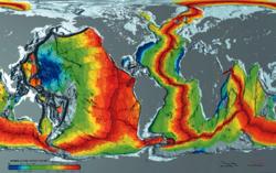 Leeftijd van de oceaankorst: jongste (rood) is langs strooicentra