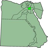 Een kaart van Egypte. Cairo is de lichtgroene vlek.