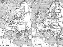 Карта Европы до и после войны.