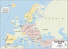 Карта Европы в начале Первой мировой войны. Турция относится к Османской империи.