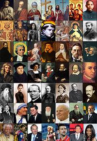 Sada obrázků pro řadu slavných křesťanů z různých oborů