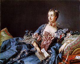 Madame de Pompadour, de maîtresse van koning Lodewijk XV van Frankrijk, ca. 1750
