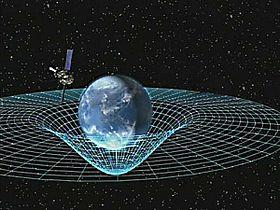 Künstlerkonzept der Gravity Probe B, die die Erde umkreist, um die Raumzeit zu messen, eine vierdimensionale Beschreibung des Universums einschließlich Höhe, Breite, Länge und Zeit.