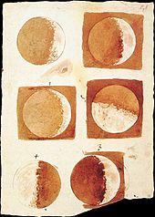 Zeichnungen des Mondes von Galileo. Seine Zeichnungen waren detaillierter als alle anderen vor ihm, weil er ein Teleskop benutzte, um den Mond zu betrachten.