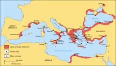 Greckie miasta i ich rozrzucenie po całym basenie Morza Śródziemnego