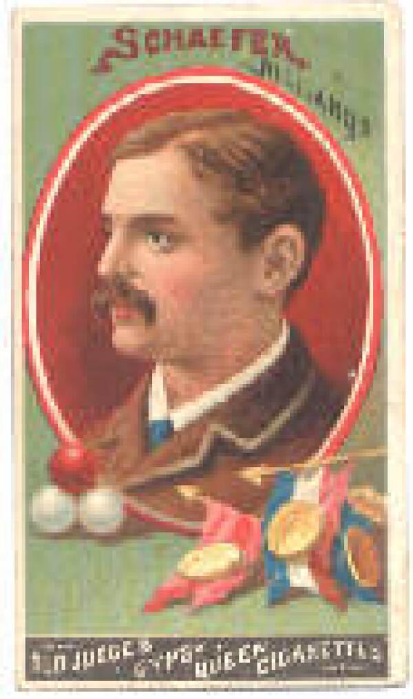 Jacob Schaefer, Sr. tabakskaart, ca. 1880; Schaefer was een dominante biljartspeler in de 19e eeuw.