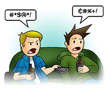 Em desenhos animados e histórias em quadrinhos, a profanidade é frequentemente representada pela substituição de símbolos por palavras grawlix no léxico do cartunista Mort Walker)