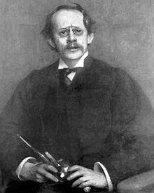 """J.J. Thomson, die in 1902 de eerste medaille won """"voor zijn talrijke bijdragen aan de elektrische wetenschap, in het bijzonder met betrekking tot de verschijnselen van elektrische ontlading in gassen""""."""