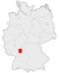 Kaart waarop men het Odenwald binnen Duitsland kan zien
